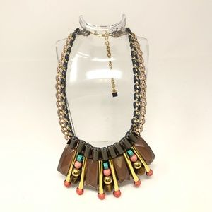 Nocturne Tigers Eye Lucite Bead Statement Necklace